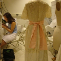 Back View of Cream Day Dress with Floral Embroidery