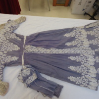 Back View of Lavender Dress with Cream Embroidery