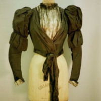 Front View of Black Faille Bodice with Front Inset