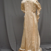 Back view of Ivory Satin Gown with Train
