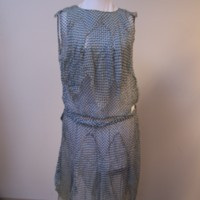 Front View of Blue and White Checked Dress