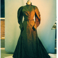 Front View of Green Day Dress of Taffeta and Velvet