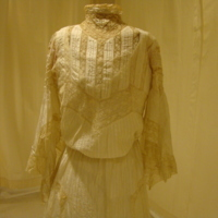 Front View of Bodice of Cream Silk and Lace Dress