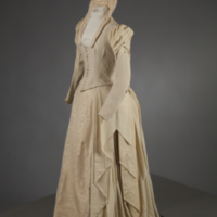 Front View of 1889 Cream Wedding Dress of Silk Moire and Wool