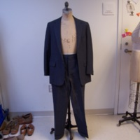 Front View of Gray Pinstripe Two-Piece Suit