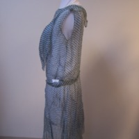 Side View of Blue and White Checked Dress