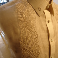 Detail View of Barong Tagalog (Wedding Shirt) of Emmanuel Naval