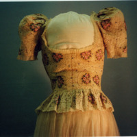 Detail View of Ivory Evening Dress with Floral Motif
