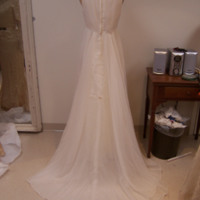 Back View of Wedding Dress with Capelet and Hat