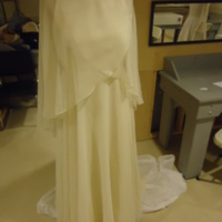 Front View of Wedding Dress with Capelet and Hat of Karen Lipschutz Goodis and Cindy Lipschutz Jacobson