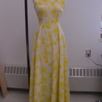 Front View of Sleeveless Yellow Print Dress