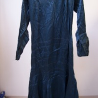 Front View of Teal Silk Dress with Sleeves