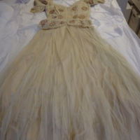 Front View of Ivory Silk Evening Dress with Floral Motif