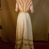 Back View of White Cotton Dress with Lace Yoke