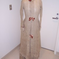 Front View of Natural Linen Morning Gown