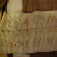 View of Label in Brown Velvet Bodice with Sheer Sleeves
