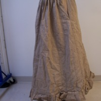 Front View of Linen Petticoat with Boned Bustle