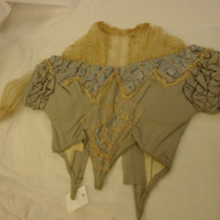 Front View of Gray Silk Evening Bodice with Lace
