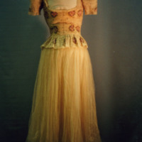 Back View of Ivory Evening Dress with Floral Motif