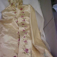 Front View of Ivory Silk Mantle with Floral Motif