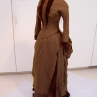 Side View of Brown Wool and Velvet Bustle Dress