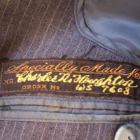 View of Label in Gray Pinstripe Two-Piece Suit