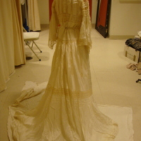 Back View of Cream Silk and Lace Dress