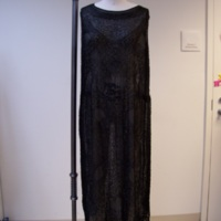Front View of 1920's Black Beaded Evening Dress