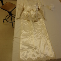 Back View of Satin Wedding Dress with Sequined Jacket