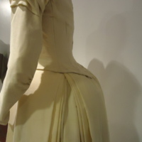 Detail View of Cream Wedding Dress of Silk Moire and Wool