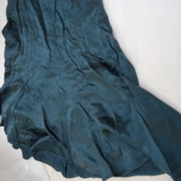 Detail View of Teal Silk Dress with Sleeves