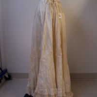 Side View of Cream Petticoat with Lace Trim