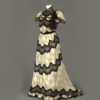 Front View of Cream and Black Printed Silk Dress with Black Lace
