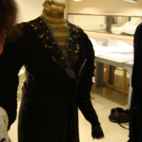 Detail View of Black Silk Dress with Train