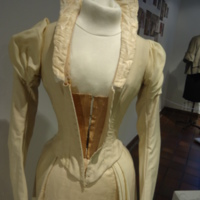 Condition View of Cream Wedding Dress of Silk Moire and Wool
