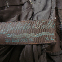 View of Label in Black Silk Dress with Train