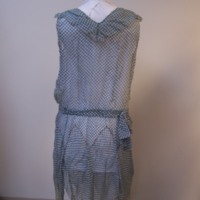 Back View of Blue and White Checked Dress