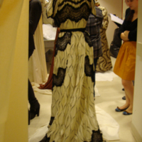 Back View of Cream and Black Printed Silk Dress with Black Lace