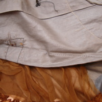Detail View of Brown Tea Gown