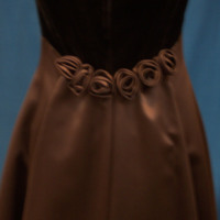 Detail View of Brown Satin Bridesmaid Dress with Velvet