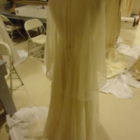 Back view of Wedding Dress with Capelet and Hat of Karen Lipschutz Goodis and Cindy Lipschutz Jacobson