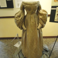 Front view of Gold Silk Jacquard Dress with Floral Motif