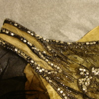 Detail View of Black and Gold Beaded Dress
