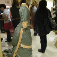 Side View of Pink and Gray Bustle Ensemble
