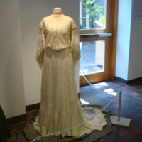 Front View of Cream Silk and Lace Dress
