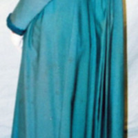 Back View of Teal Dress with Cream Lace