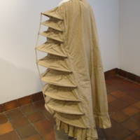 Side View of Linen Petticoat with Boned Bustle