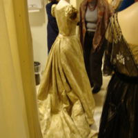 Back View of Evening Dress with One Shoe