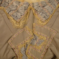 Detail View of Gray Silk Evening Bodice with Lace