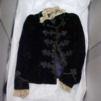 Front View of Velvet Voat with Frogs and Lace